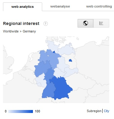 Suchanfragen Web Analytics nach Regionen