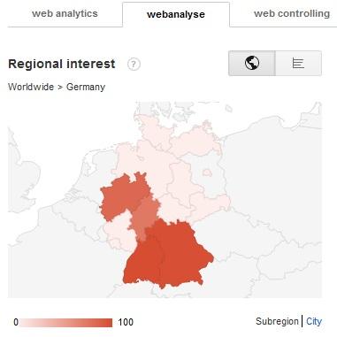Suchanfragen Webanalyse nach Regionen
